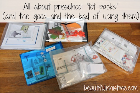 "All about preschool ""tot-packs"" (and the good and the bad of using them) 