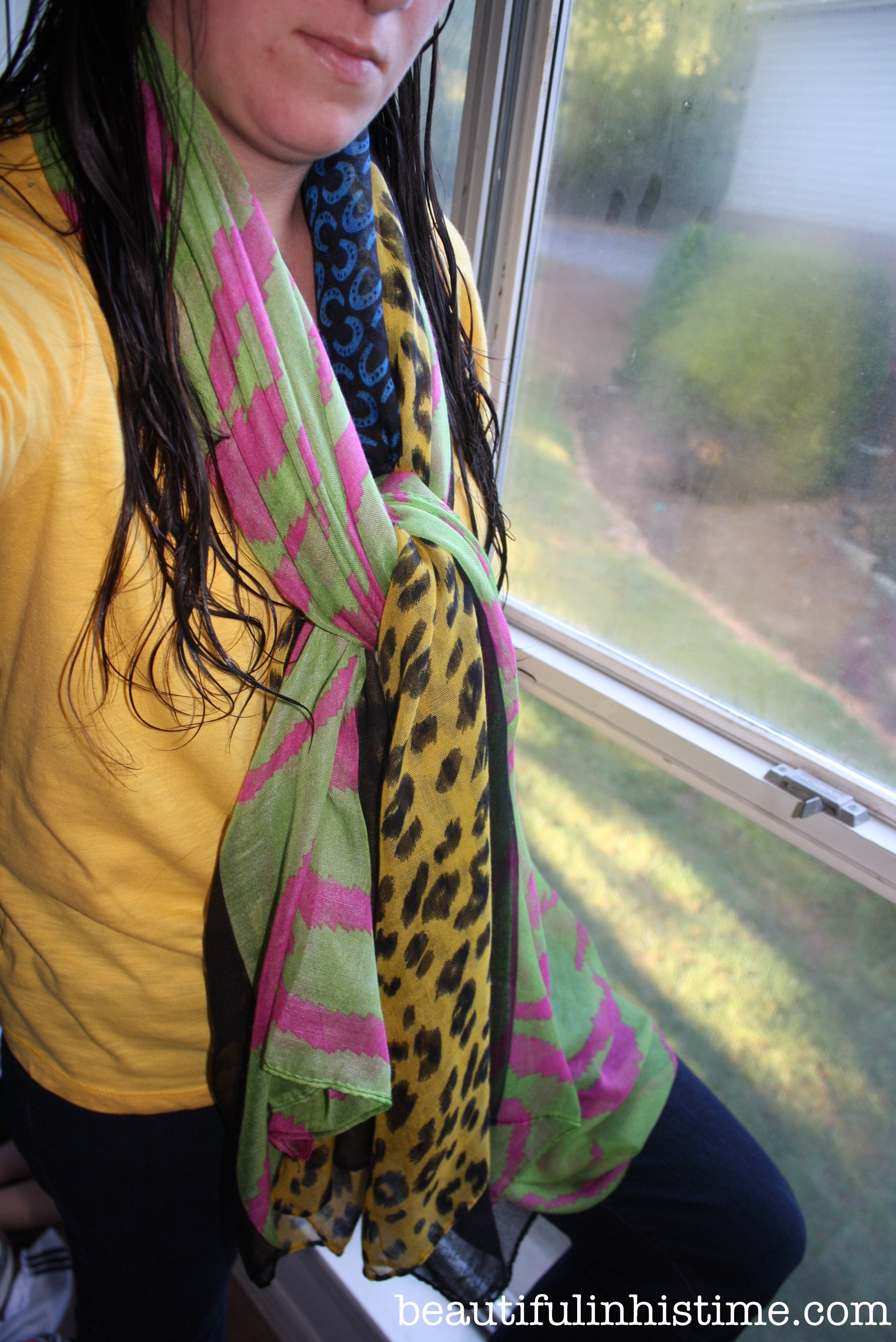 long hair, straight stitching, and free scarves {a post about God's provision, even in the unnecessary things}